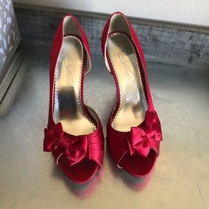 Michaelangelo Shoes - Michaelangelo red peep toe formal satin heels